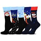 TeeHee Christmas & Holiday Fun Crew Socks for Women 5-Pack Striped Soft Warm