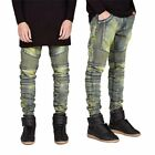 Men's Distressed Straight Denim Pants Jeans Fit Skinny Ripped Biker Trousers BP