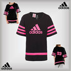 Adidas Girls BB Wide Fit 03 Tee T-Shirt Age 14-15 Years Black Bright Pink Ribbon