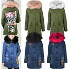 Womens Ladies Winter Coat Denim Floral Long Length Faux Fur Hooded Parka Jacket