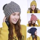 Newest Women's Knitted Beanie Stylish Winter Earflap Hat Outdoor Hair Ball Caps