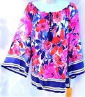 RUBY RD. WOMENS PLUS SIZE 2X 3X SILKY FLORAL PRINT 3/4 SLEEVE TUNIC TOP SHIRT