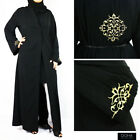 Black Gold Floral Design Open Abaya Kimono Jilbab Maxi Dress