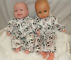 Handmade clothes for Annabell/Baby Doll Pyjamas-Polycotton  2 pce set -white cow