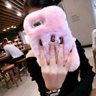 Luxury Bling Diamond Fuzzy Soft Rabbit Fur Phone Case Cover & Ring Holder Stand