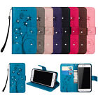 Luxury Slim Flip Diamond Tree Leather Wallet Stand Cover+Strap For Apple Samsung