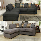 Fable Large Corner RH LH Sofa Fabric Scatter Designer Cushions With Footstool