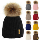 Children Kids Baby Boys Girls Winter Knitted Beanie Ski Hat Faux Fur Bobble Pom