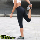 Women Cropped Yoga Fitness Leggings HIGH WAISTED CAPRIS Pants Tight Trousers US