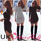 UK WOMENS BODYCON LONG SLEEVES COCKTAIL LADIES MINI PARTY DRESS SIZE 6-14