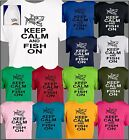 keep calm and hunt on - Keep Calm and Fish On T Shirt Humorous Hunting Tee Full front Left Sleeve logo