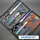 "7"" Professional Pet Dog Cat Hair Grooming Scissors Clipper Shears Kits Case Set"