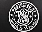 Protected by Smith and Wesson Vinyl Decal for laptop windows wall car boat