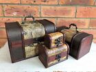 Set of 2 Vintage Colonial Map Pirate Treasure Chest Atlas Trinket Storage Box