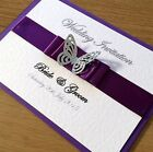 25 PERSONALISED WEDDING/EVENING INVITATION CARDS-GLITTER BUTTERFLY- Many Colours