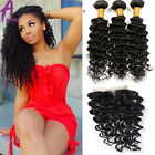 3 Bundles Brazilian Hair Human Hair Extensions With Lace Closure Curly Deep wave