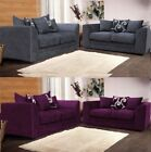 New Quality Zina Chenille 3 + 2 Seater Sofa Grey-Black-Purple Cushion Designer