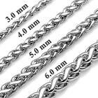 3mm-6mm MENDINO Mens Silver Chain Link Twist Curb 316L Stainless Steel Necklace