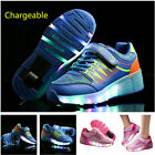 USB Recharged Adult Kids Wheel Roller Sneakers With Led Light  Boys Girls Sport