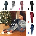 Crushed Velvet Loungewear Ladies Velour Tracksuit for Women Joggers FULL S - XL