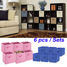 6 PCS Home Storage Bins Organizer Fabric Cube Boxes Basket Drawer Container USA