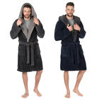 Mens Snuggle Fleece Hooded Bath Spa Robe Dressing Gown M-2XL Christmas Gift