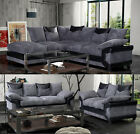 New Quality Jumbo Cord Dino Corner Sofa a Footstool or 2 + 3 Seater Grey / Brown