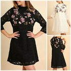 Umgee Boho Black Ivory Floral Embroidered High Neck Lace Long Sleeve Dress S-L