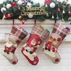 Christmas Stocking Socks Plaid Santa Claus Candy for Hanging Ornament Decor NEW