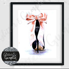 Fashion Art print watercolour designer heels beauty room wall art