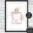 Perfume Bottle Rose Gold Foil Effect Silver Faux Glitter Art sketch print ONLY