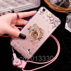 Luxury Bling Diamond Crystal Ring Holder stand Soft Case Cover & neck strap #H9