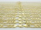 "SOLID 10K Yellow Gold 2.25MM-12MM Figaro Link Chain Bracelet Mens Women 7""- 9"""
