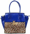 Leopard Patent Leather Red or Blue Satchel Handbag Purse