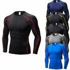 Men's Compression Running Tops Crew-neck Plain Slim fit Skin Base Layers Jersey