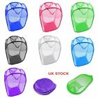 Laundry Basket Pop-Up Mesh Bin Tidy Storage Toys Fold-able Cloth Washing Bag UK