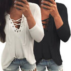 Hot Women Lace-up Casual Deep-V Tops Shirt Ladies Loose T-shirt Blouse Pullover