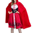 Adult Ladies Little Red Riding Hooded Cape Party Dancing Fancy Dress Costume