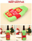 UK stock green Knitted Xmas gift wine bottle wrap cover party house decoration