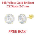 14K Solid Gold Round Brilliant Lab Diamond Martini Prong Set Stud Earrings 3-7mm