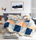 100% Cotton Reversible Queen King Bed Quilt Cover Set Soft Duvet Navy/Orange