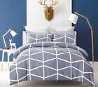 100% Cotton Reversible Queen King Bed Quilt Cover Set Soft Duvet Fred Gray