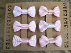 """Handmade Assorted Pinks Coloured Bow Hairclips/ Set Of 6 /2"""" x 1"""" Grosgrain Bows"""