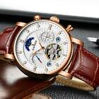 KINYUED Luxury Automatic Mechanical Skeleton Man Business Watch Moon Phase U7C1