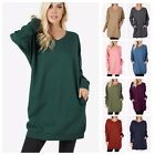 Внешний вид - Women's Casual V-Neck Long Sleeve Over-Sized Tunic Top Sweatshirts Sweater S~3XL