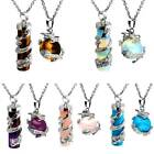 Natural Cz Gemstone Dragon Wrapped Cylinder Pendant Healing Necklace With Chain