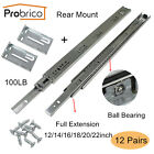 Probrico 12/14/16/18/20/22in Full Extension Drawer Slides Heavy Duty Rear Mount