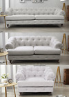 Cruises Chester Chesterfield Sofa Light Grey 3 + 2 + 1 Seater Fabric White Linen