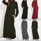 Women Hooded Long Sleeve T-shirt Pocket Slim Blouse Solid Casual Long Dress GIFT