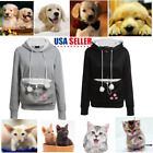 Women's Hoodie Large Pocket Pet Dog Cat Kangaroo Holder Carrier Coat Pouch HT